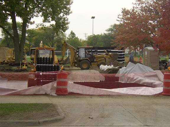 A Storewater-Detention System was installed at the University of Michigan Elbel Field, Ann Arbor, Michigan, using Rainstore3.