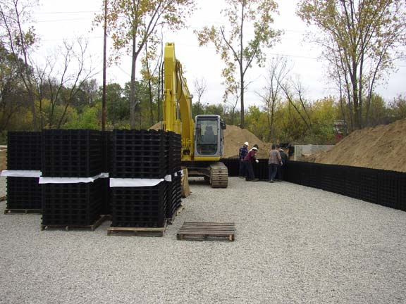 An Underground-Stormwater-Detention System was installed at the Grand Rapids Water Department, Grand Rapids, Michigan, using Rainstore3.