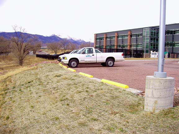 Porous-Gravel Paving was installed in the parking lots at Pikes Peak Regional Development Center, Colorado Springs, Colorado, using Gravelpave2.