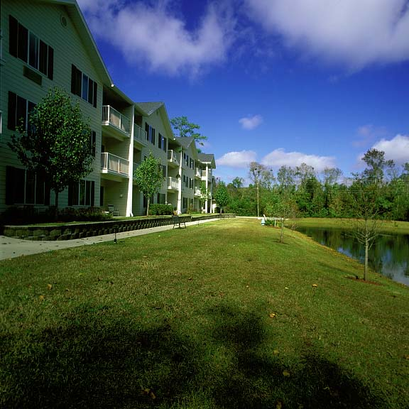 Grid Pavers were installed in the fire lane access areas at The Woods at Hollytree (Retirement Living) in Wilmington, North Carolina, using Grasspave2.