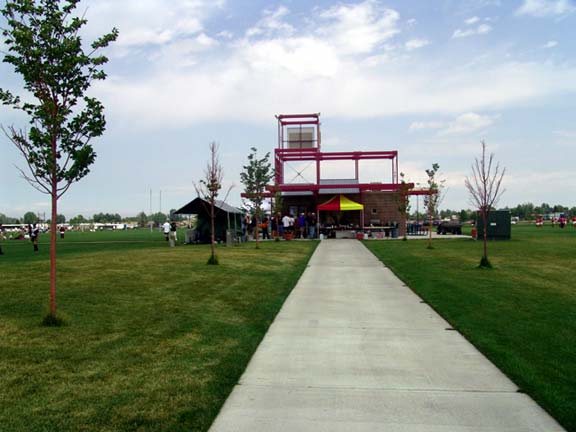 Pervious Pavers were installed in the emergency-access lane at the Aurora Sports Park, Aurora, Colorado, using Grasspave2.