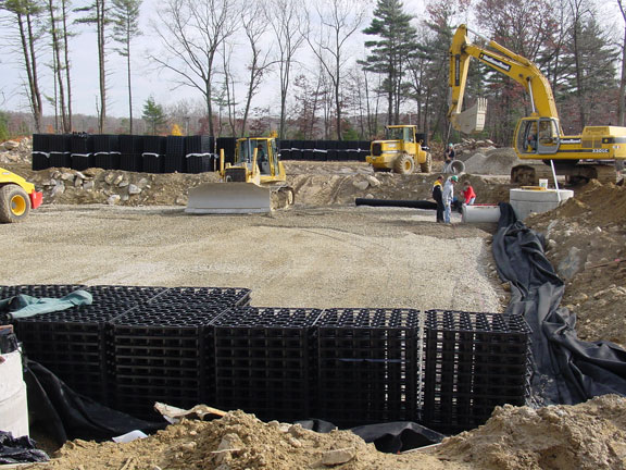 A Subsurface Cistern was installed in this Corporate Parking Lot in Southborough, Massachusetts, using Rainstore3.