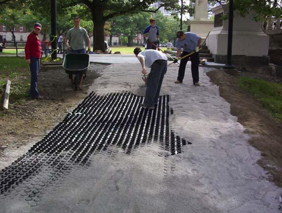 Permeable Pavement was installed to prevent further erosion at the John Weeks Footbridge in Cambridge, Massachusetts, using Gravelpave2.