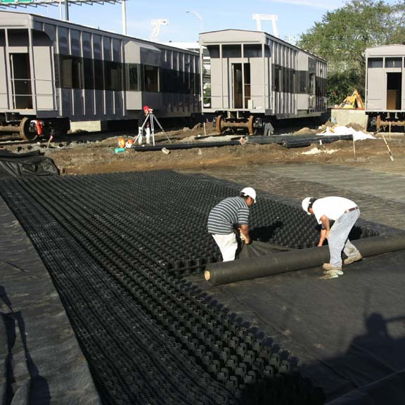 Stormwater Storage was installed at the Adams Street Station at Alltel Stadium in Jacksonville, Florida, using Rainstore3.