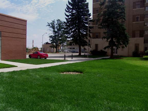 A Porous-Grass Grid was installed in the fire lane access areas at the University of Colorado Health Sciences Center, Aurora, Colorado, using Grasspave2.