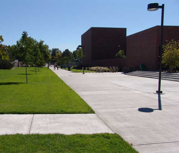 A Reinforced-Grass Fire Lane was installed in the emergency access and pedestrian areas at Boise State University, Student Recreation Center, Boise, Idaho, using Grasspave2.