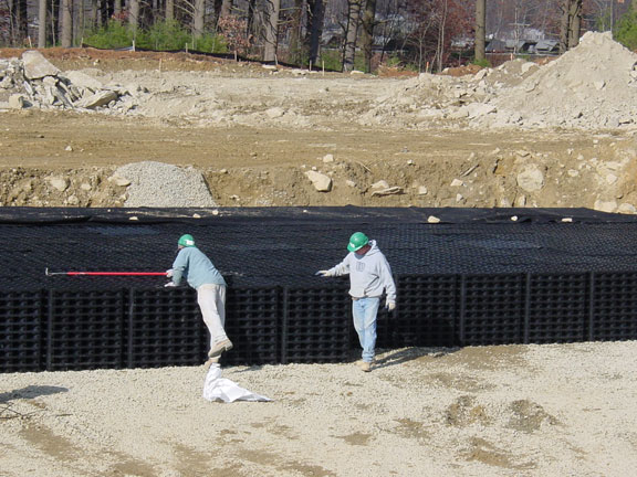 Subsurface-Water Storage was installed in this Corporate Parking Lot in Southborough, Massachusetts, using Rainstore3.