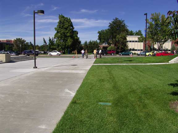 Permeable Pavers were installed in the emergency access and pedestrian areas at Boise State University, Student Recreation Center, Boise, Idaho, using Grasspave2.