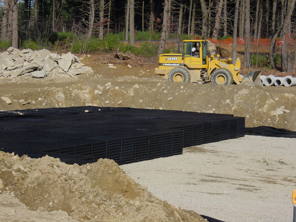 Underground-Rainwater Storage was achieved in a Corporate Parking Lot in Southborough, Massachusetts, using Rainstore3.