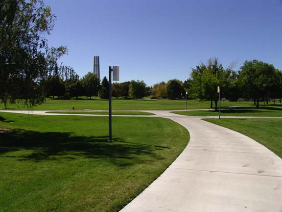 Grass Pavers were installed on each side of the sidewalk to create a fire lane, using Grasspave2.