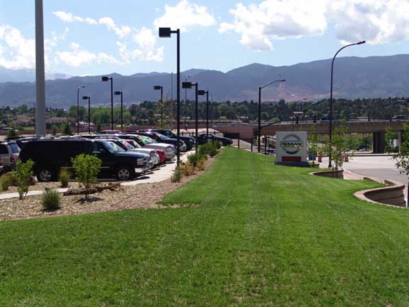 Grass Pavement was installed in the automobile display areas at Woodmen Nissan in Colorado Springs, Colorado, using Grasspave2.