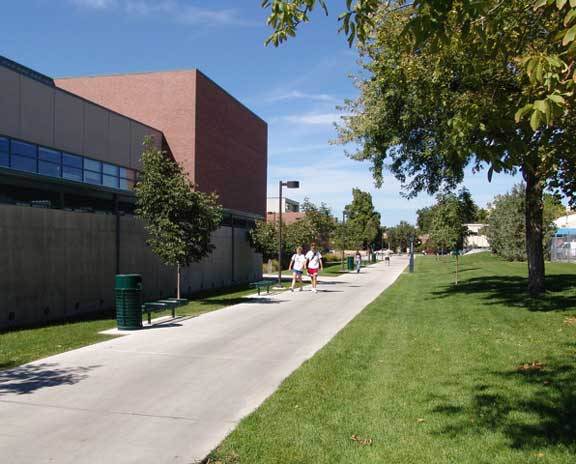 Pervious-Grass Paving was installed in the emergency access and pedestrian areas at Boise State University, Student Recreation Center, Boise, Idaho, using Grasspave2.