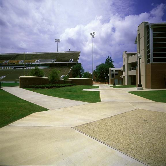 Pervious Pavers were installed in the parking lanes at the University of South Mississippi Athletic Center in Hattiesburg, Mississippi, using Grasspave2.