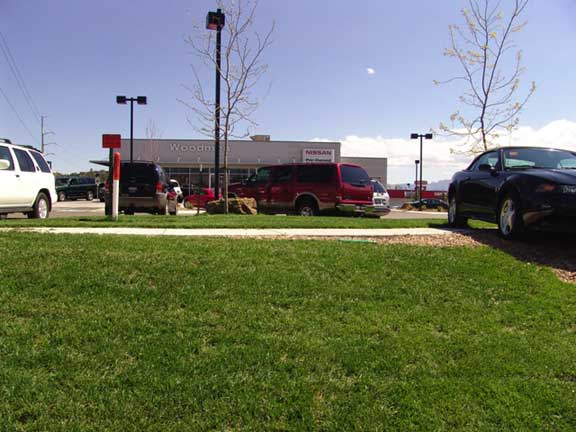 Turf Reinforcement was installed in the automobile display areas at Woodmen Nissan in Colorado Springs, Colorado, using Grasspave2.