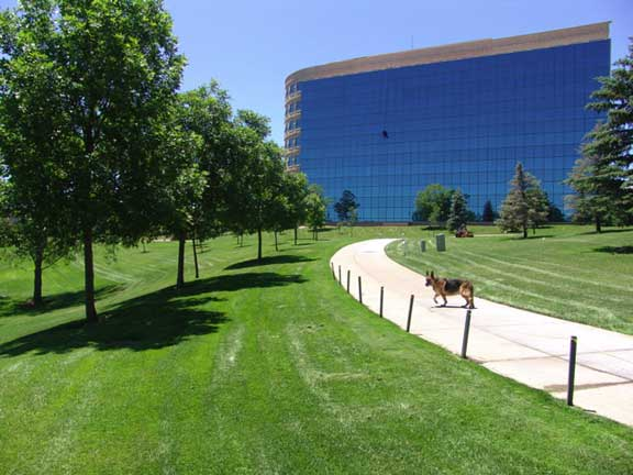 Permeable Fire Lane was installed in the fire lane access areas at Inverness Hotel and Conference Center, Englewood, Colorado, using Grasspave2.