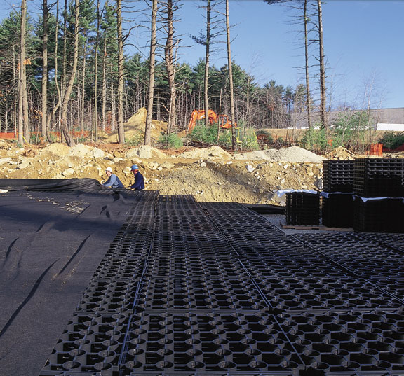 A Stormwater-Storage System was installed in this Corporate Parking Lot in Southborough, Massachusetts, using Rainstore3.