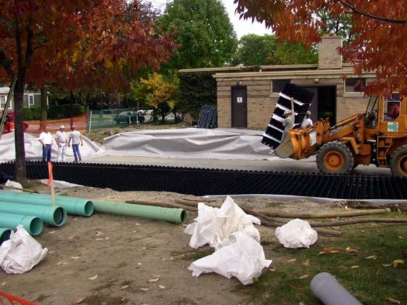 Underground Water Storage was installed at the University of Michigan Elbel Field, Ann Arbor, Michigan, using Rainstore3.