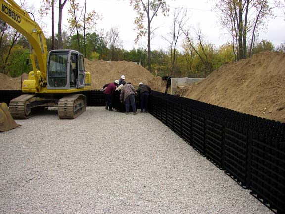 Stormwater Storage was achieved at the Grand Rapids Water Department, Grand Rapids, Michigan, using Rainstore3.