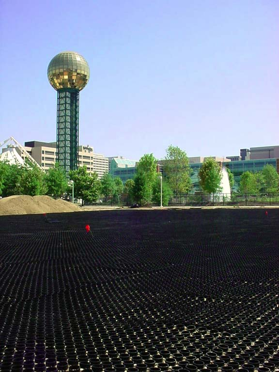 A Turf-Reinforcement System was installed in the World's Fair Park Performance Lawn, Knoxville, Tennessee, using Grasspave2.