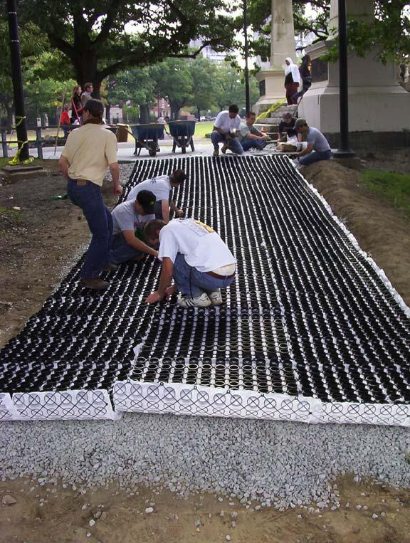 Aggregate Paving was installed to prevent further erosion at the John Weeks Footbridge, Cambridge, Massachusetts, using Gravelpave2.