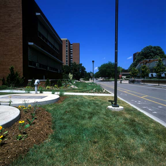 Grass Pavers were installed in the utility-access areas at the University of Wisconsin in Madison, Wisconsin, using Grasspave2.