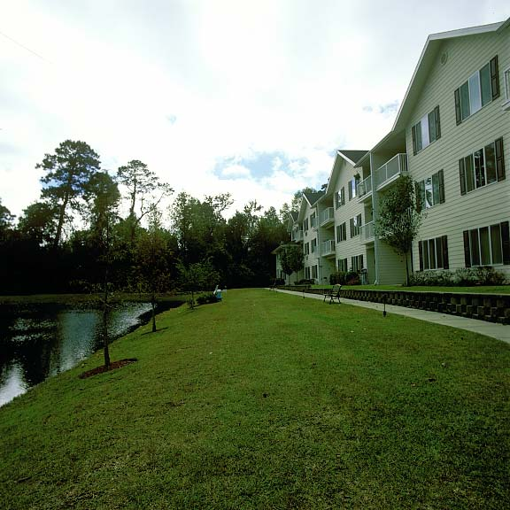 Reinforced-Grass Pavers were installed in the fire lane access areas at The Woods at Hollytree (Retirement Living) in Wilmington, North Carolina, using Grasspave2.