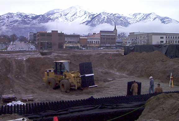 Underground-Stormwater Detention was achieved at the Ogden City Entertainment Center, Ogden, Utah, using Rainstore3.