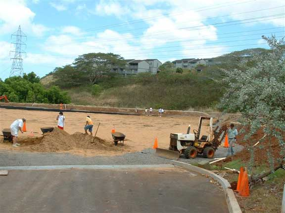 A Reinforced Grass Parking Lot was installed at the Calvary Chapel Christian Church in Aiea, Hawaii, using Grasspave2.