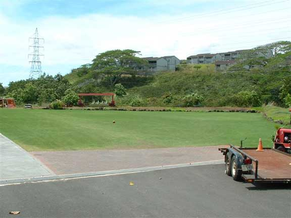 Turf Reinforcement was installed on the children's play area and parking lot at the Calvary Chapel Christian Church in Aiea, Hawaii, using Grasspave2.