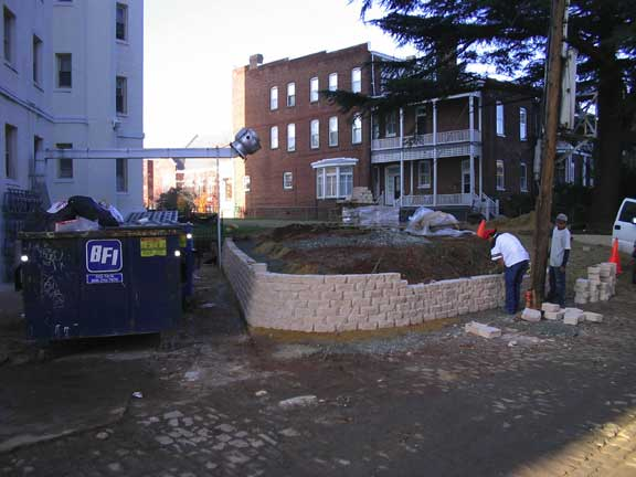 Pervious Grass Pavers were installed in the fire lane access area beyond this retaining wall at the Stuart Court Building, Richmond, Virginia, using Grasspave2.
