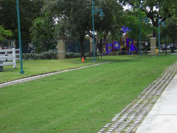 A Reinforced Fire Lane and Access area, designed to withstand the weight of firetrucks and horse Trailers, was installed at the Miami Florida Mounted Police Patrol using, Grasspave 2.