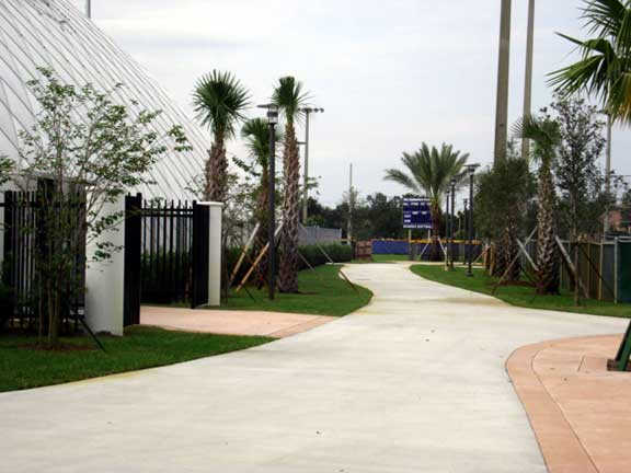 In order to accodomate fire truck access, Grasspave2 was installed to widen the sidewalk.