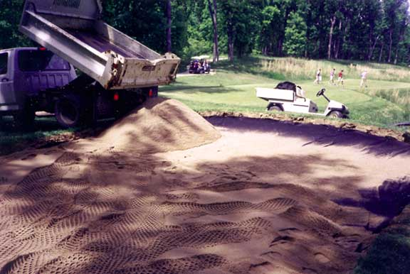 Subsurface Draining was achieved at Missouri Bluffs Golf Course, St. Louis, Missouri, using Draincore2.