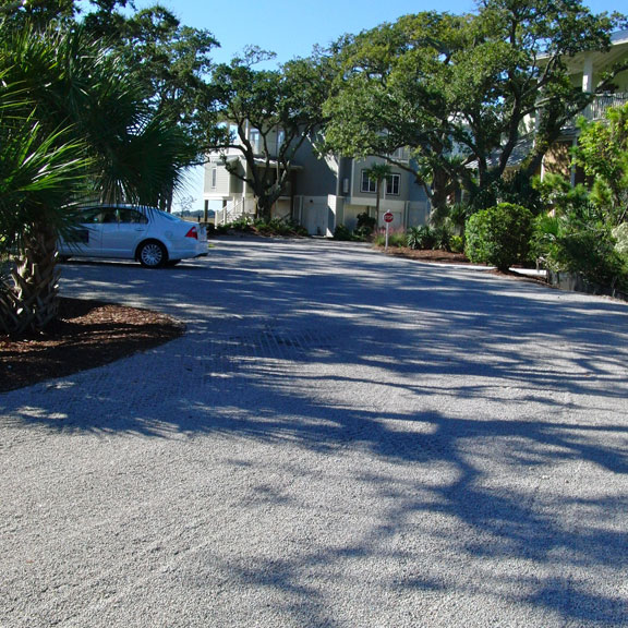 Roads and parking areas are made from Gravelpave2 permeable paving.