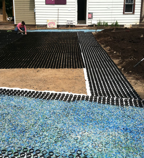 The sparkling glass filling the Gravelpave2 was tumble by volunteers at Growing Hope.