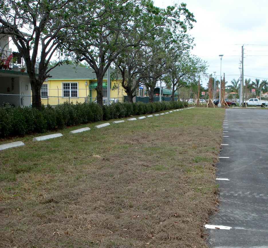Striping and curb stops at the Grasspave2 installation.