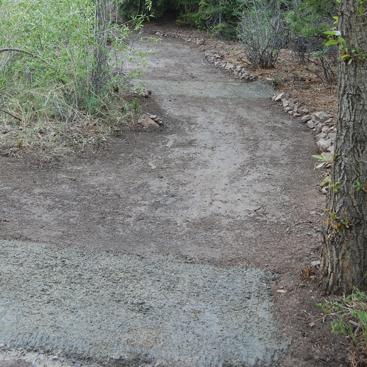 Gravelpave2 sections are flush with the level of the trail but provide a differing texture.
