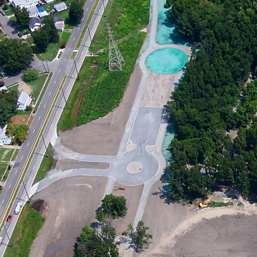 Aerial view of the Gravelpave2 permeable road/parking lot