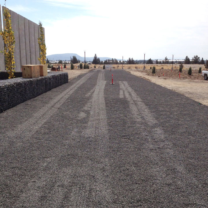 This installation photo of Gravelpave2, shows the system ready to be filled with the decorative gravel. Facebook chose gray colored Gravelpave2 to match the fill.