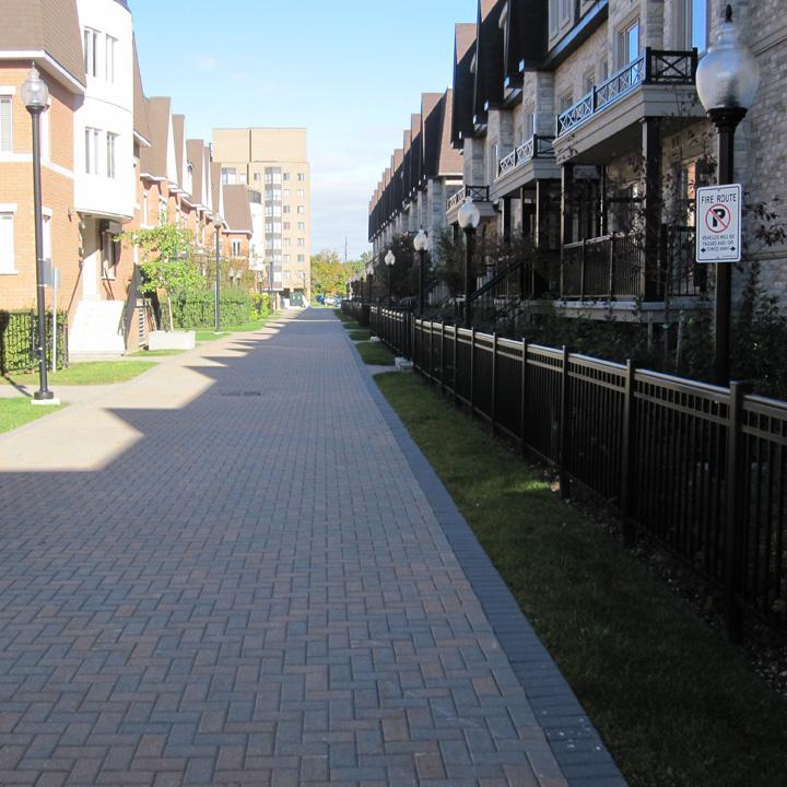 Villas have a grass reinforced fire lane