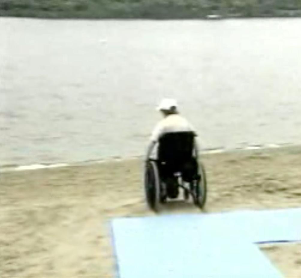 Wheelchair on sand