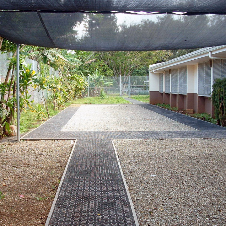 The porous reinforced path traverses the nursery area.