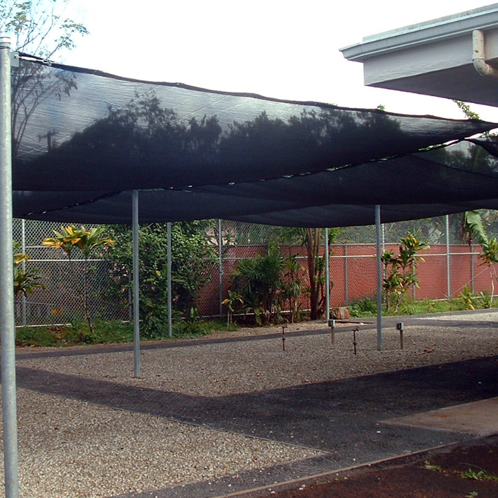 A sunshade provides relief from the sun for the patients and nusery plants.