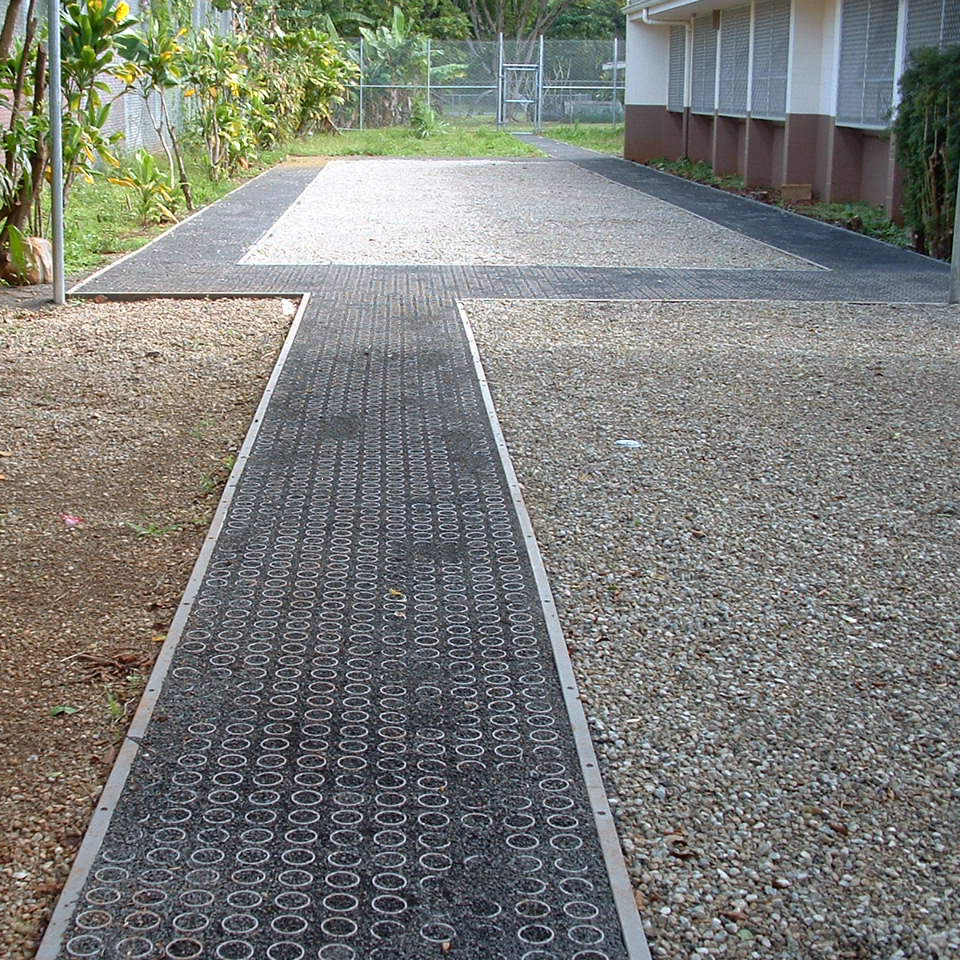 The rings in the Gravelapve2 system provide stability and reinforcement for the gravel giving the system ADA/Wheelchair compliance.