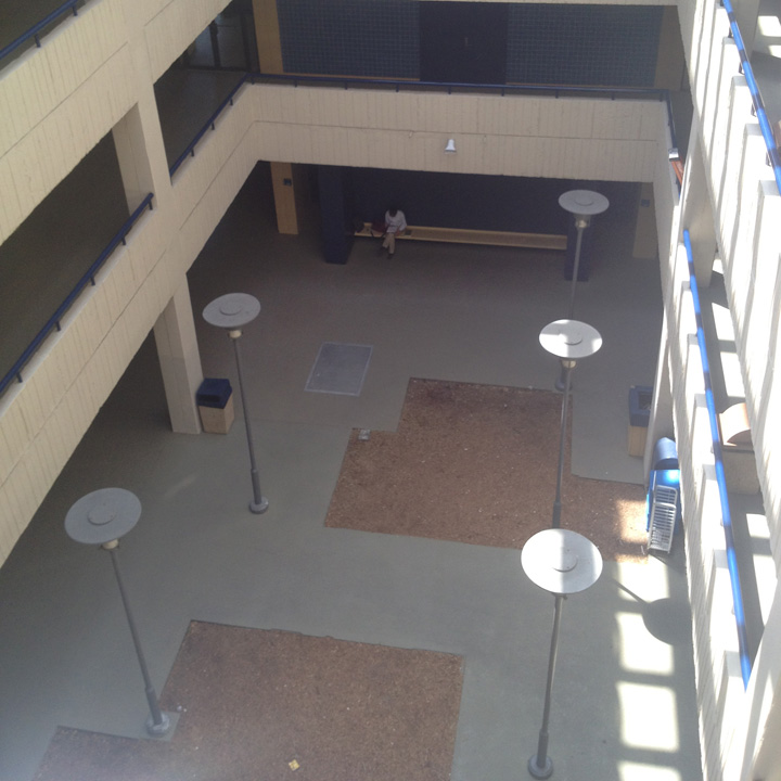 Before photo: Landscape architecture students and Roberto Roviro worked on transforming the space.