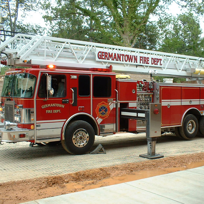 Germantown Fire Department tests the Grasspave2 filled with sand.