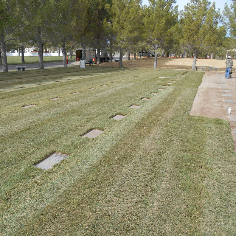 Sod being laid on National Cemetery Marker Stabilization with grass pavers - Grasspave2