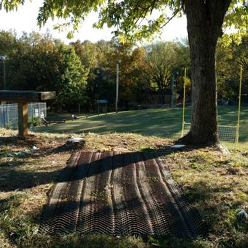 erosion control on a tee box for frisbee golf